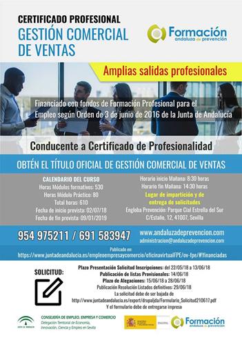 MATRÍCULATE Y OBTÉN EL TÍTULO OFICIAL   DE GESTIÓN COMERCIAL DE VENTAS