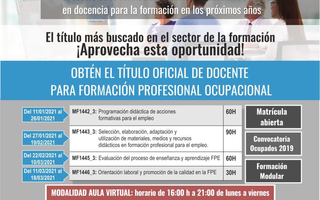 DOCENCIA DE LA FORMACIÓN PROFESIONAL PARA EL EMPLEO. Modalidad Aula Virtual